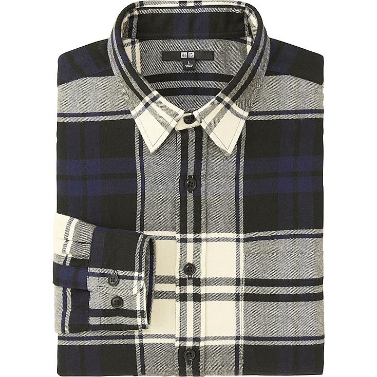 MEN FLANNEL CHECKED LONG SLEEVE SHIRT, NAVY, large