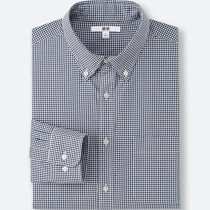 MEN EXTRA FINE COTTON BROADCLOTH CHECKED LONG SLEEVE SHIRT, NAVY, large