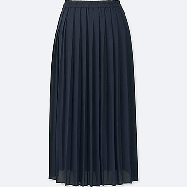 WOMEN HIGH WAIST CHIFFON PLEATED MIDI SKIRT, NAVY, medium