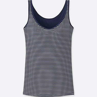 WOMEN AIRism BRA SLEEVELESS TOP, NAVY, medium