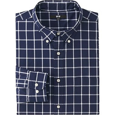 MEN EXTRA FINE COTTON BROADCLOTH CHECKED LONG SLEEVE SHIRT, NAVY, medium