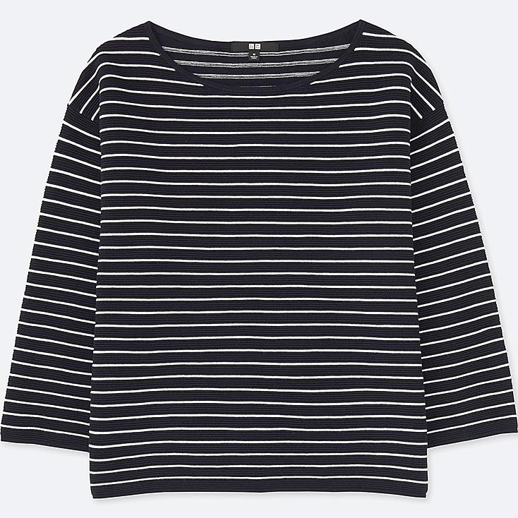 WOMEN RIPPLE STRIPED CREWNECK SWEATER, NAVY, large