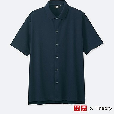 MEN DRY COMFORT FULL-OPEN POLO SHIRT (THEORY), NAVY, medium