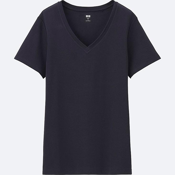 women supima cotton v neck short sleeve t shirt uniqlo us