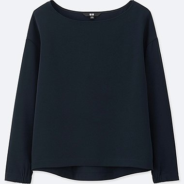 WOMEN DRAPE BOAT NECK LONG-SLEEVE T BLOUSE, NAVY, medium