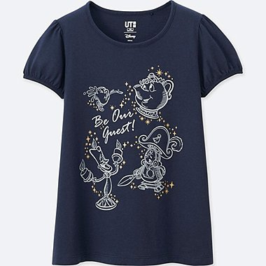 GIRLS Disney BEAUTY AND THE BEAST GRAPHIC T-SHIRT, NAVY, medium