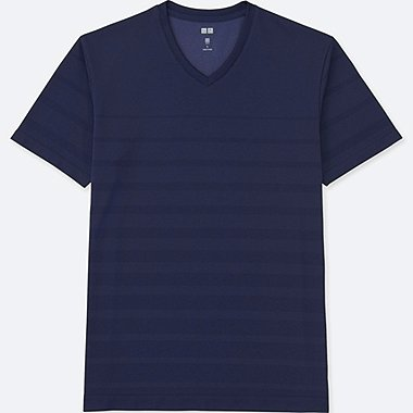 MEN DRY EX SHORT SLEEVE V-NECK T-SHIRT, NAVY, medium