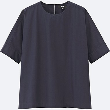 WOMEN EXTRA FINE COTTON SHORT-SLEEVE T BLOUSE, NAVY, medium