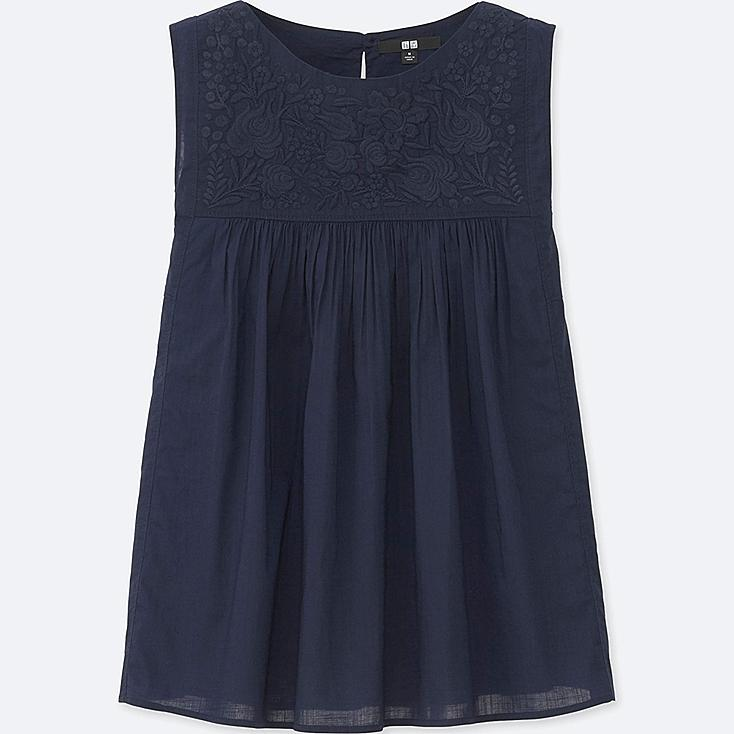 WOMEN COTTON LAWN EMBROIDERY SLEEVELESS BLOUSE, NAVY, large