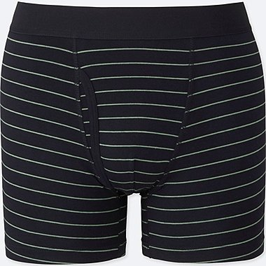 MEN Supima® COTTON STRIPED BOXER BRIEFS, NAVY, medium