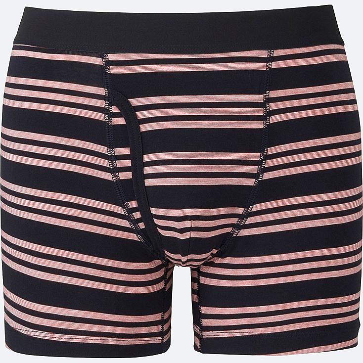 MEN Supima® COTTON STRIPED BOXER BRIEFS, NAVY, large