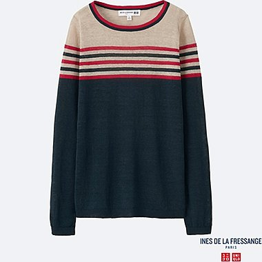 WOMEN INES Linen Blend Boat Neck Sweater
