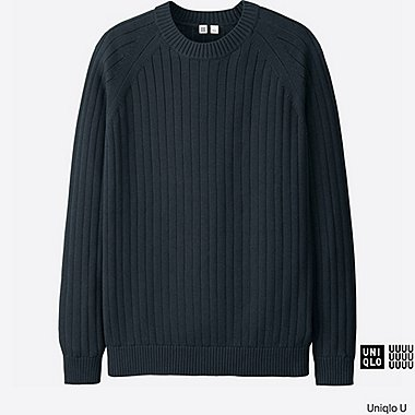 MEN U SUPIMA COTTON CREW NECK SWEATER, NAVY, medium