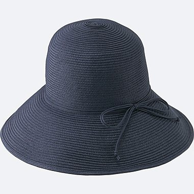 WOMEN CUT FLOPPY HAT, NAVY, medium