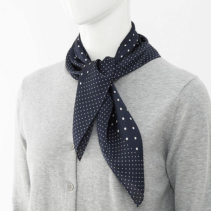 WOMEN SCARF (DOT), NAVY, large