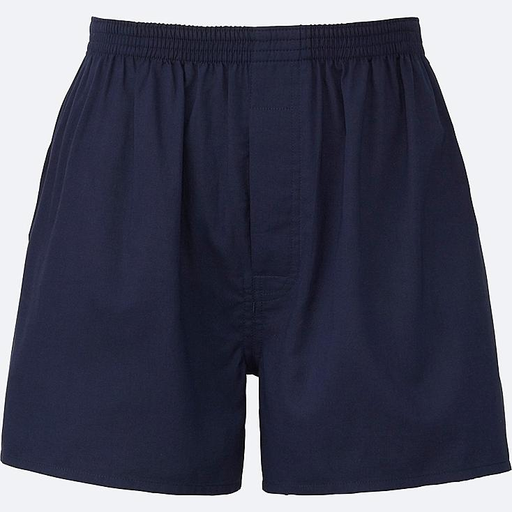 MEN WOVEN LIGHT OXFORD BOXERS, NAVY, large