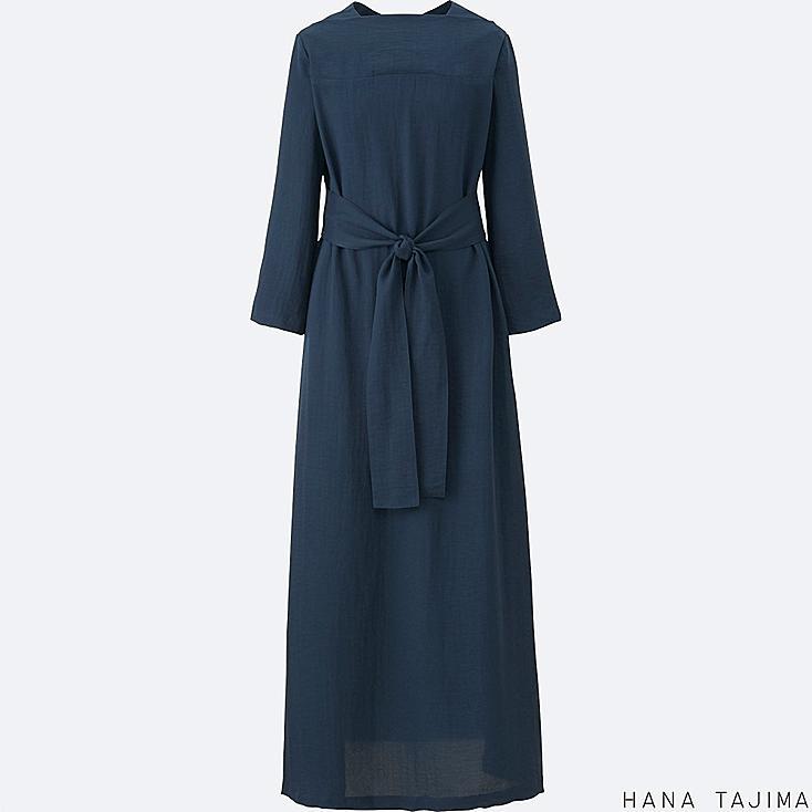 WOMEN CREPE TIE BACK LONG-SLEEVE DRESS, NAVY, large