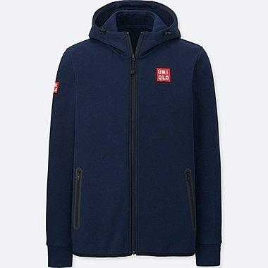 MEN NK DRY STRETCH SWEAT FULL-ZIP HOODIE, NAVY, medium