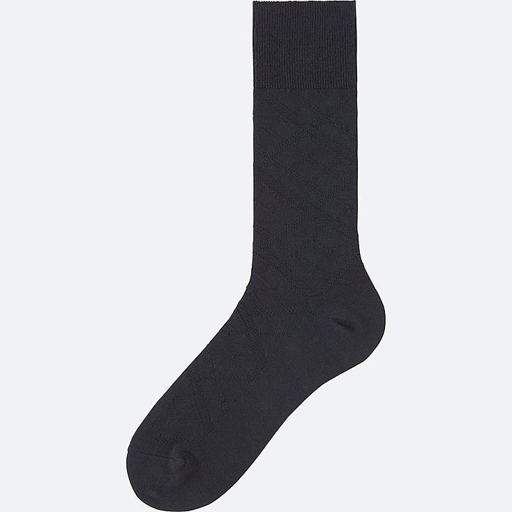 MEN Supima® COTTON LINKS CHECKED SOCKS, NAVY, large