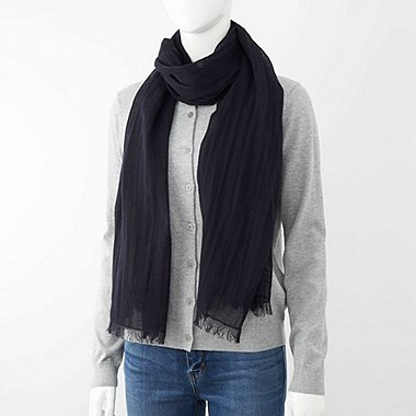 COTTON LINEN STOLE, NAVY, medium