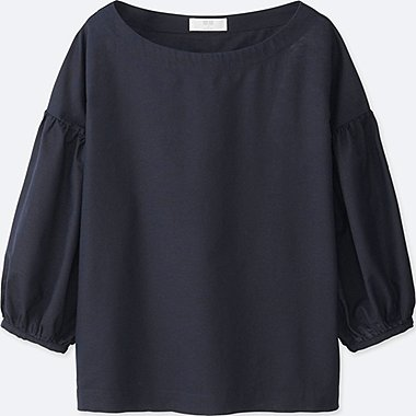 WOMEN COTTON LINEN 3/4 SLEEVE T BLOUSE, NAVY, medium
