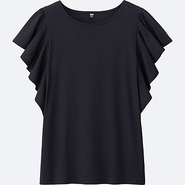 WOMEN FRILL SHORT SLEEVE T-SHIRT
