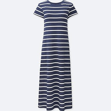 WOMEN SHORT SLEEVE LONG BRA DRESS (STRIPE), NAVY, medium
