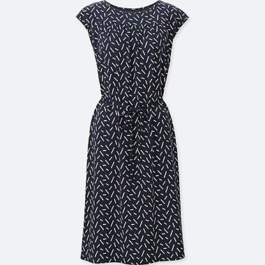 WOMEN SHORT SLEEVE BRA DRESS (GEOMETRIC), NAVY, medium