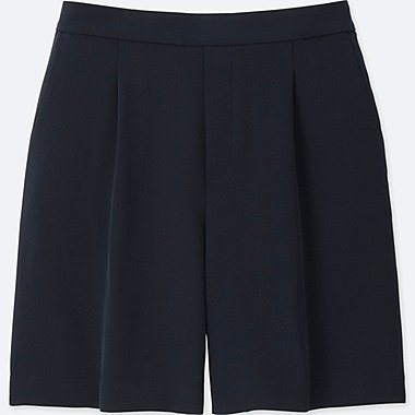 WOMEN HIGH RISE DRAPE SHORTS, NAVY, medium
