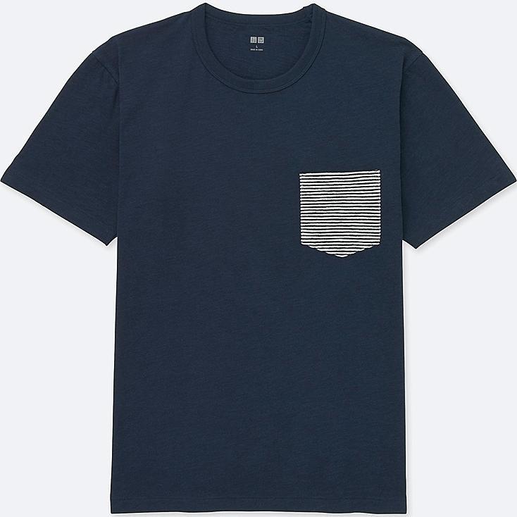 MEN WASHED SLUB SHORT-SLEEVE CREWNECK T-SHIRT, NAVY, large