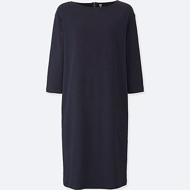 WOMEN MILANO RIBBED 3/4 SLEEVE DRESS, NAVY, medium