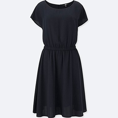WOMEN Soft Woven Short Sleeve Dress