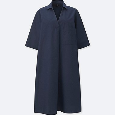 WOMEN Crisp Cotton A Line Shirt Dress