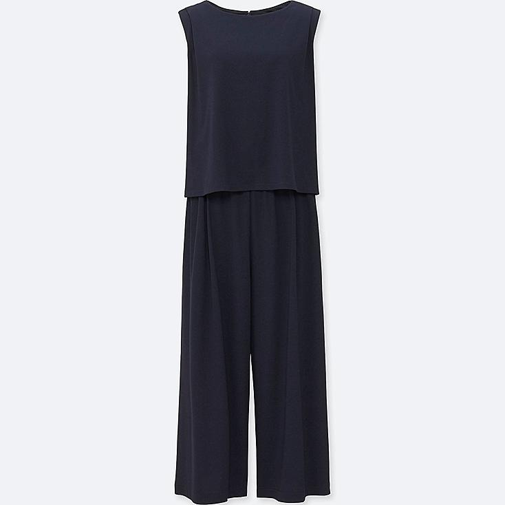 WOMEN JERSEY SLEEVELESS JUMPSUIT, NAVY, large