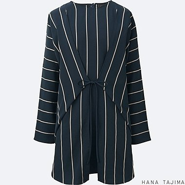 WOMEN Hana Tajima Striped Tie Long Sleeve Tunic