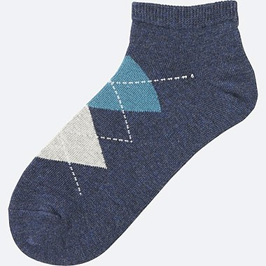 WOMEN SHORT SOCKS (ARGYLE), NAVY, medium
