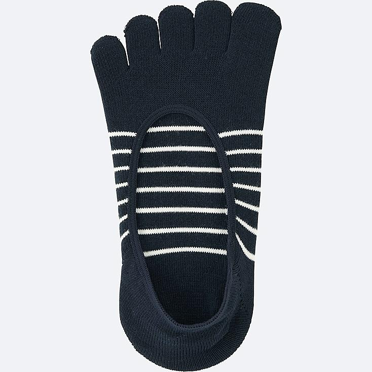 WOMEN FOOTSIES (FINGER STRIPE), NAVY, large