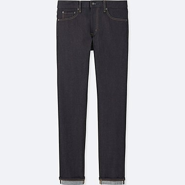 MEN SELVEDGE SKINNY FIT TAPERED JEANS, NAVY, medium