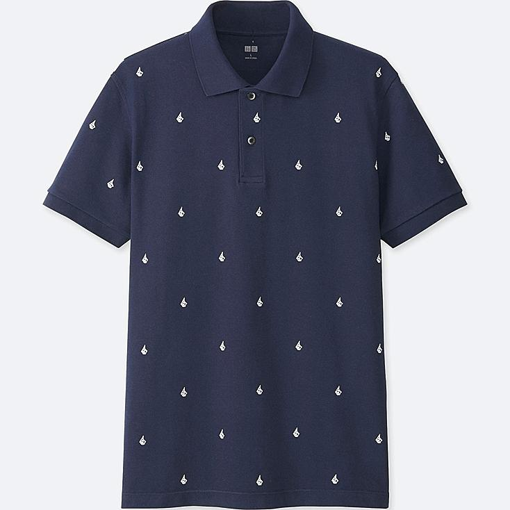 MEN DRY PIQUE PRINTED SHORT-SLEEVE POLO SHIRT, NAVY, large