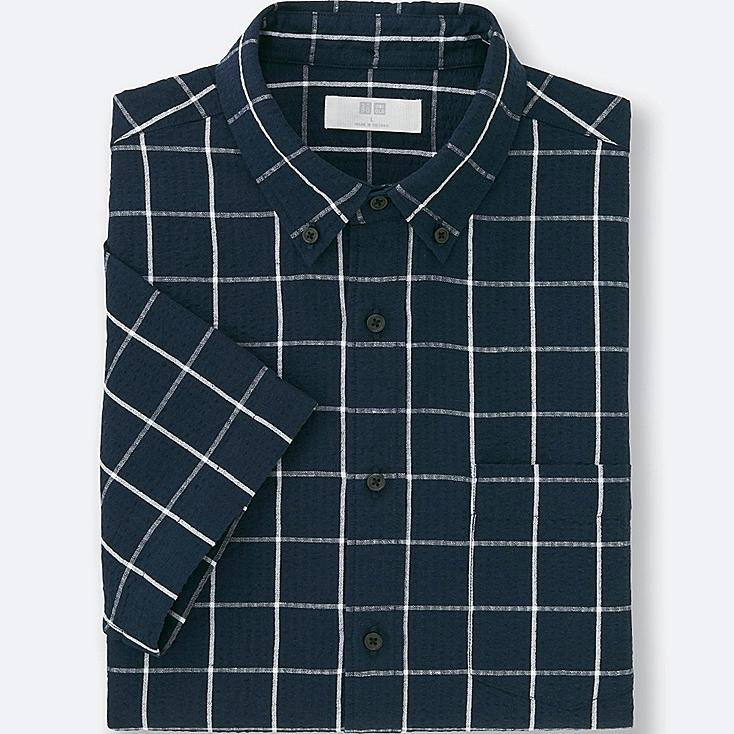 MEN LINEN COTTON CHECKED SHORT SLEEVE SHIRT, NAVY, large