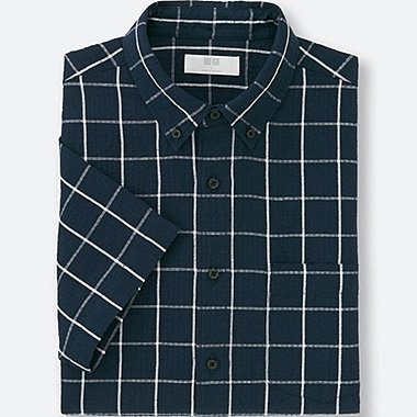 MEN LINEN COTTON CHECKED SHORT SLEEVE SHIRT, NAVY, medium