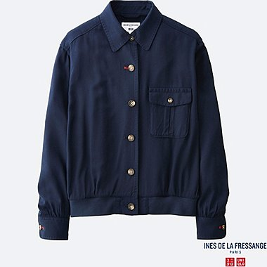WOMEN IDLF TWILL RAYON SHIRT JACKET, NAVY, medium