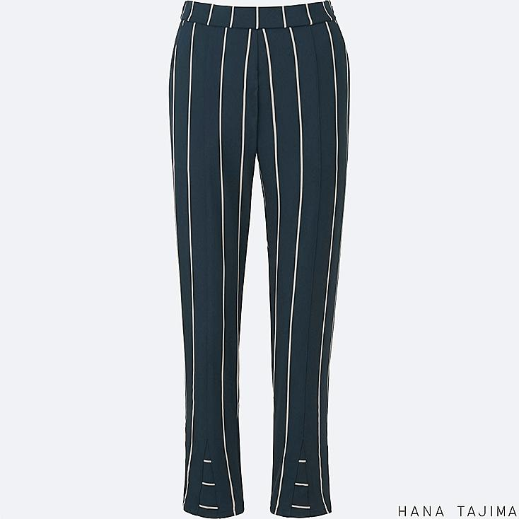 WOMEN STRIPED TAPERED ANKLE LENGTH PANTS, NAVY, large