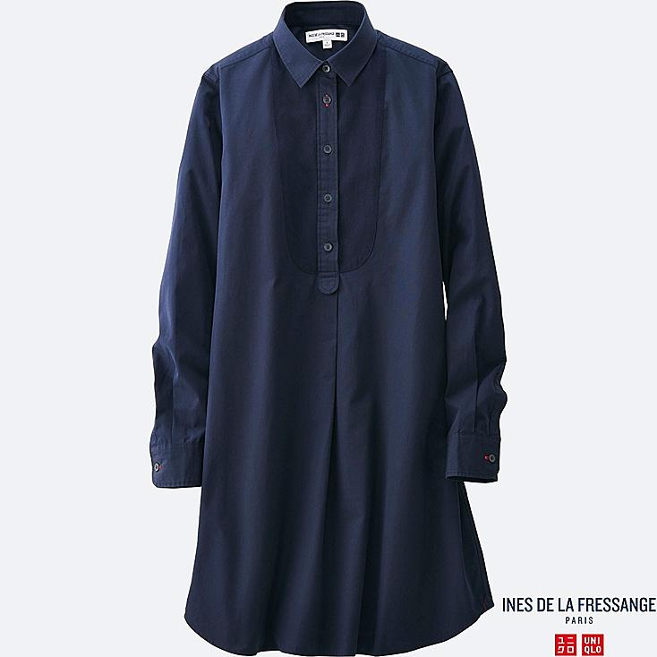 WOMEN IDLF COTTON POPLIN LONG-SLEEVE TUNIC, NAVY, large