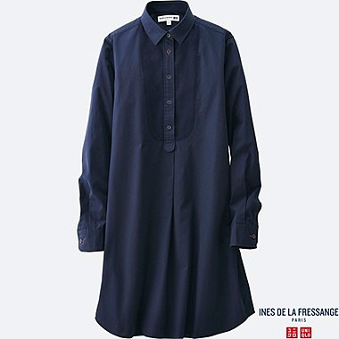 WOMEN IDLF COTTON POPLIN LONG-SLEEVE TUNIC, NAVY, medium