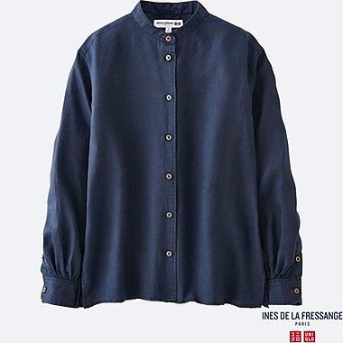 WOMEN INES Premium Linen Stand Collar Long Sleeve Shirt