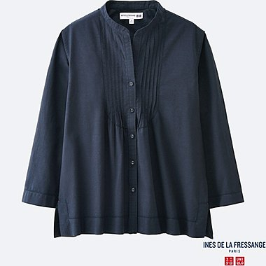 WOMEN IDLF COTTON LAWN PIN TUCK 3/4 SLEEVE SHIRT, NAVY, medium