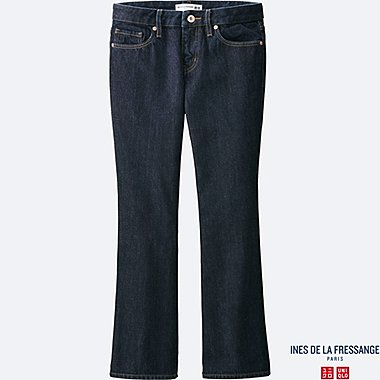 WOMEN IDLF SELVEDGE ANKLE LENGTH FLARE JEANS, NAVY, medium