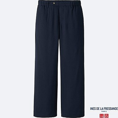 WOMEN IDLF TWILL RAYON WIDE PANTS, NAVY, medium