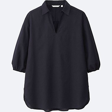 WOMEN COTTON LINEN 3/4 SLEEVE TUNIC, NAVY, medium